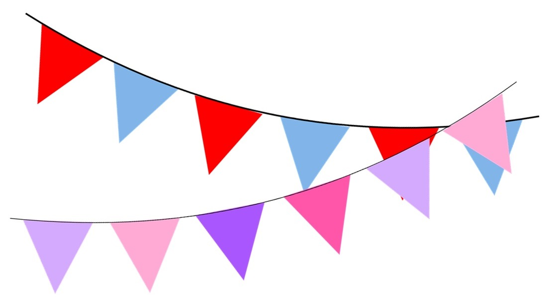 Bunting graphic for Flixborough Village Hall information page